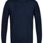 Elegancki granatowy sweter prufuomo originale z delikatnej wełny merynosów z okrągłym kołnierzem xxl