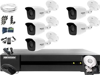 5 kamerowy zestaw do monitoringu hikvision hwd-6108mh-g2, 5 x hwt-b120-m, 1tb, akcesoria