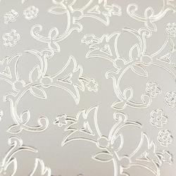 Stickers ażurowy srebrny 10x23 cm - kwiatki - 1908