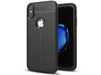 Etui pancerne alogy leather case - apple iphone x xs czarne + szkło