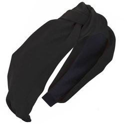 Opaska do włosów turban czarna węzeł satynowa