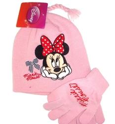 Komplet czapka + rękawiczki disney minnie pink 4-8 lat
