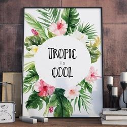 Plakat w ramie - tropic is cool , wymiary - 60cm x 90cm, ramka - czarna