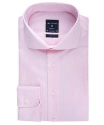 Elegancka koszula męska taliowana slim fit w różową krateczkę 40