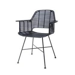 Hk living :: krzesło rattanowe ze stelażem czarne