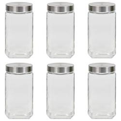 Vidaxl słoje do przechowywania ze srebrną nakrętką, 6 szt., 2100 ml