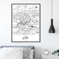 Plakat w ramie - mapa krakowa , wymiary - 40cm x 50cm, ramka - biała