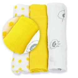 Zestaw pieluszek muślinowych lulujo 70x70 żółty