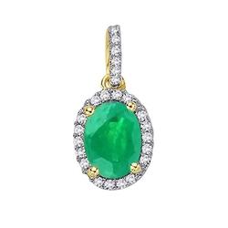 Staviori wisiorek. 24 diamenty, szlif brylantowy, masa 0,12 ct., barwa h, czystość si2. 1 szmaragd, masa 0,55 ct.. żółte złoto 0,585. wymiary 8x10 mm. długość 15 mm.