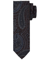 Bordowy krawat wełniany w granatowy wzór paisley
