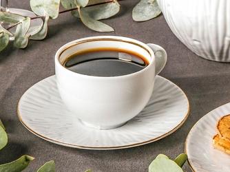 Zestaw kawowy dla 6 osób porcelana mariapaula natura złota linia 12 elementów
