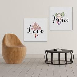 Peace amp; love - komplet dwóch obrazów na płótnie , wymiary - 70cm x 70cm 2 sztuki