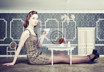 Naklejka kobieta w małym pokoju