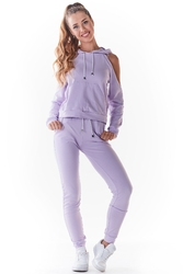 Dresowe spodnie z cienkiej dzianiny - purpurowe