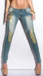 Jeansy z łańcuszkami, biodrówki, rurki |  jeansy damskie