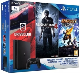 Konsola sony ps4 slim 1tb + ratchet + uncharted 4 + the last of us