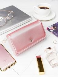 Stylowy portfel damski milano design różowy - różowy