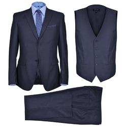Trzyczęściowy garnitur biznesowy męski rozmiar: 54 kolor: granat