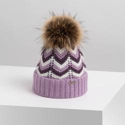 Modna czapka zimowa damska lawendowa brodrene