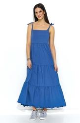 Maxi jeansowa sukienka z falbankami na ramiączkach