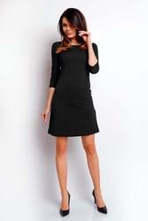 Czarna wizytowa sukienka trapezowa z rękawem za łokieć