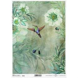 Papier ryżowy ITD A4 R1061 kwiaty ptak