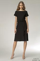 Czarna Wyjątkowa Sukienka z Suwakiem