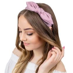 Opaska do włosów różowa kokarda pin up węzeł
