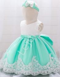 Miętowo biała sukienka dla dziewczynki - komplet z opaską