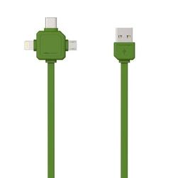 Kabel usb 3.1, usb 2.0- usb c  lightning  micro-usb, 1.5m, 3w1, zielony, powercube, płaski