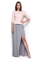 Szara długa spódnica maxi z rozporkiem