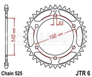 Zębatka tylna stalowa jt 50-29041-42, 42z, rozmiar 525 2302172 bmw f 800