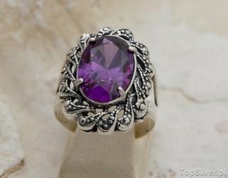 Castellon - srebrny pierścień z ametystem