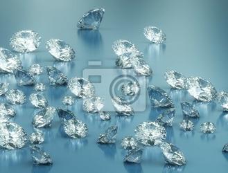 Fototapeta diamenty na niebieskim tle