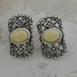 Barocco - srebrne kolczyki z bursztynem i perłami