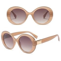 Okulary przeciwsłoneczne damskie beżowe okrągłe