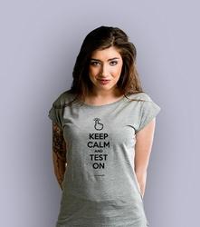 Keep calm and test on t-shirt damski jasny melanż xxl
