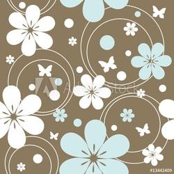 Naklejka samoprzylepna bez szwu retro wzór z kwiatami