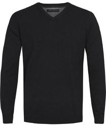 Czarny sweter  pulower v-neck z bawełny  xxxl