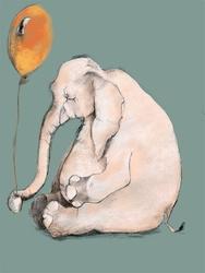 Słonik z balonem - plakat wymiar do wyboru: 29,7x42 cm