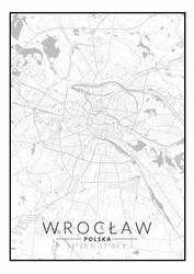 Wrocław mapa czarno biała - plakat Wymiar do wyboru: 61x91,5 cm