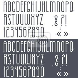 Plakat czarno-biały alfabetu, cyfry i znaki interpunkcyjne
