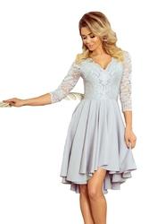 Szara wieczorowa asymetryczna sukienka z koronką