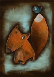 Lis i ptak - plakat wymiar do wyboru: 20x30 cm
