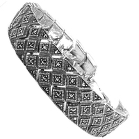 Gavia srebrna bransoletka z markazytami szeroka ciężka