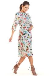 Ecru Kwiatowa Sukienka Midi