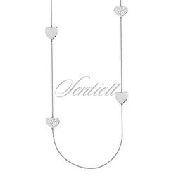 Srebrny długi naszyjnik pr.925 z czterema serduszkami