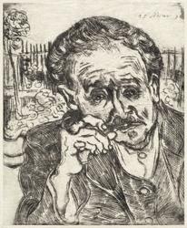 Dr gachet man with a pipe, vincent van gogh - plakat wymiar do wyboru: 40x50 cm