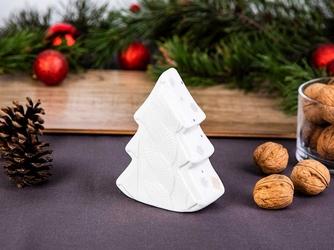 Figurka  ozdoba  dekoracja świąteczna ceramiczna na boże narodzenie altom design choinka biały sweterek 12 cm