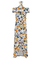 Sukienka z dekoltem halter bonprix biel wełny - niebiesko-pomarańczowy w kwiaty